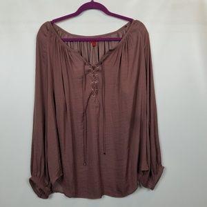 Jennifer Lopez 100% polyester slinky brown blouse